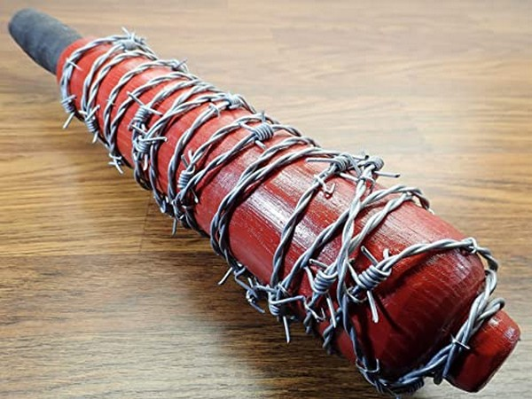 Image of a red trench club, wrapped with barbed wire from an e-commerce site used to propagate fake news on the Galwan Valley clash