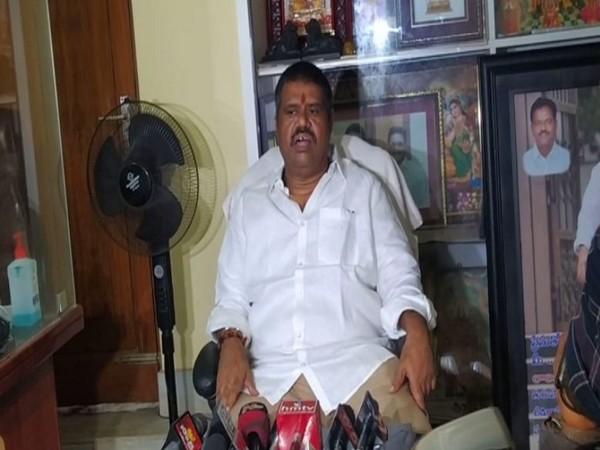 Andhra Pradesh Tourism Minister Muttamsetti Srinivasa Rao addressing a press conference at his residence in Visakhapatnam on Thursday. [Photo/ANI]