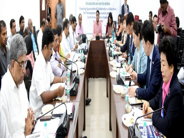 Delegation from South Korea meets Andhra Pradesh Education Minister Adimulapu Suresh and senior officials in Amaravati on Friday. Photo/ANI
