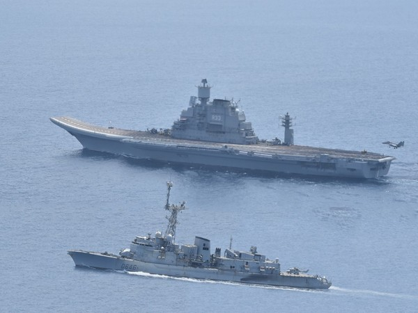 A visial from Indo-French Naval exercise 'Varuna' of day 3 [Photo/ANI]