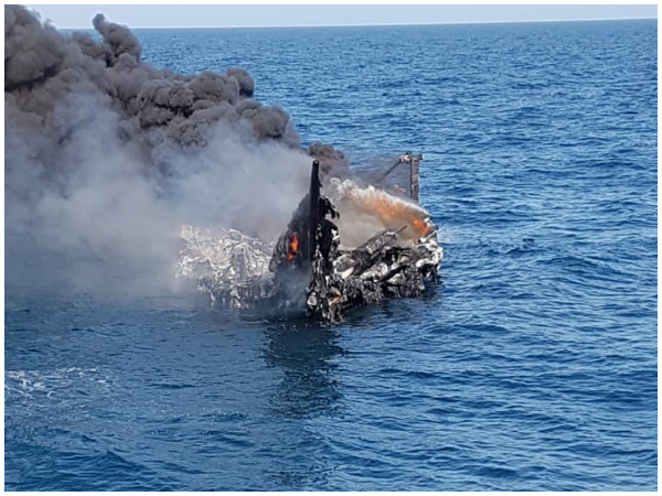 Boat carrying illegal drugs off Gujarat coast was burned by smugglers to destroy any evidence (Photo/ANI)