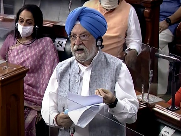 Union Minister Hardeep Singh Puri speaking in the Lok Sabha on Monday.