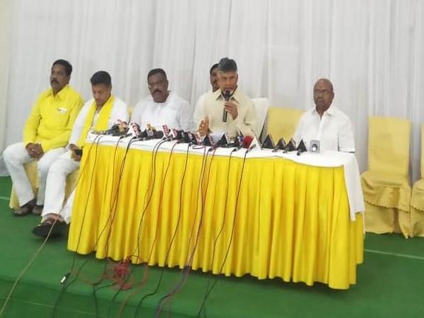 Andhra Pradesh Chief Minister N Chnadrababu Naidu talking to reporters on Wednesday. Photo/ANI