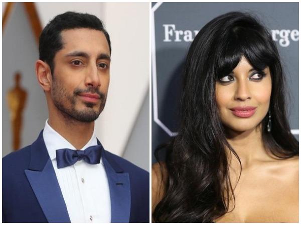 British rapper Riz Ahmed (L) and actor Jameela Jamil