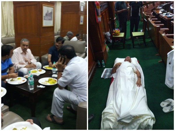 BJP MLAs having dinner and BS Yeddyurappa sleeping on floor of House