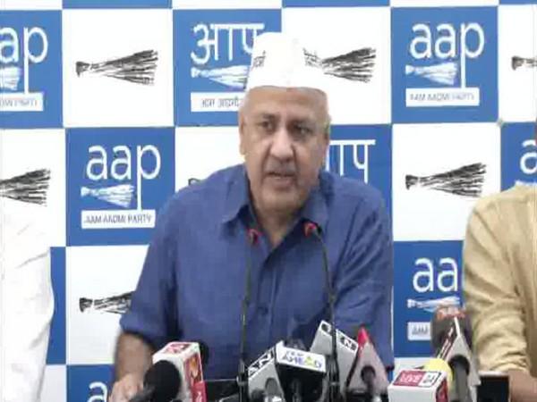 AAP deputy chief minister Delhi Manish Sisodia talking at a press conference in Delhi (Photo/ANI)
