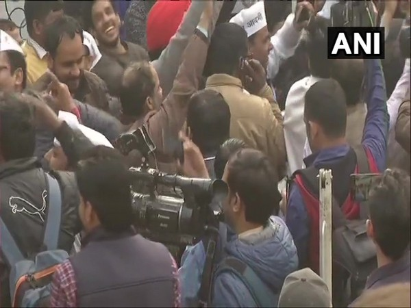Visuals from the celebrations outside AAP office in New Delhi on Tuesday. Photo/ANI