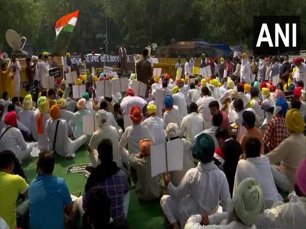 A visual from the protest of AAP's Punjab unit at Jantar Mantar on Monday. Photo/ANI