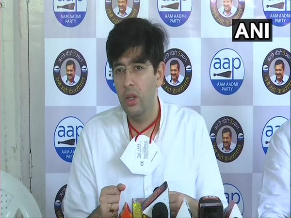 Aam Aadmi Party (AAP) leader Raghav Chadha speaking at press conference in New Delhi on Monday. Photo/ANI