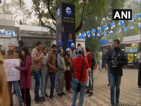 Aam Aadmi Party office decked up ahead of Delhi election results [Photo/ANI]