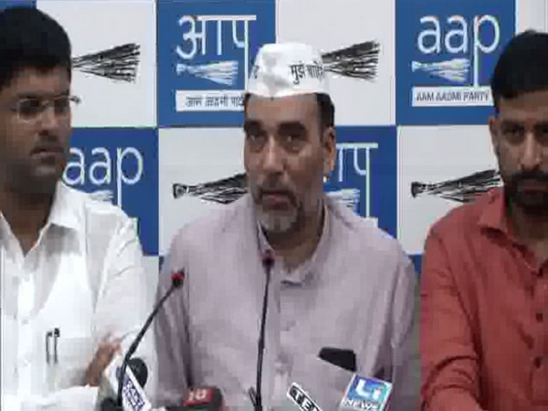 Gopal Rai (AAP) and Dushyant Chautala (JJP) addressing a joint press conference in Delhi on Sunday