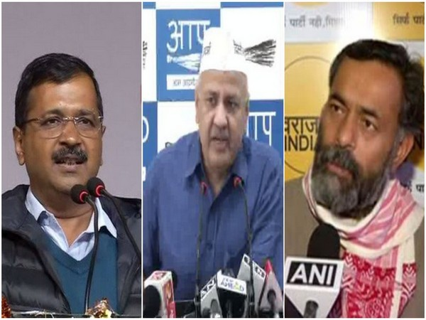 From left: Delhi CM Arvind Kejriwal, Deputy CM Manish Sisodia, and Swaraj India president Yogendra Yadav