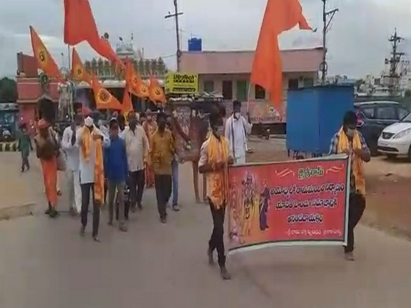 RSS members celebrating foundation laying ceremony of Ayodhya's Ram temple in Chittoor on Wednesday. (Photo/ANI)