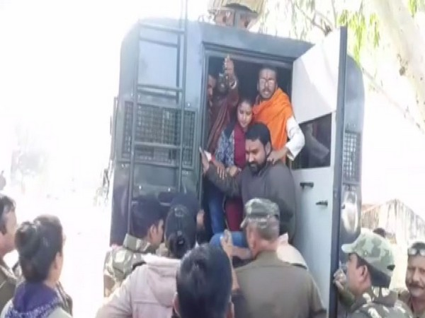 ABVP workers being arrested in Chhatarpur, Madhya Pradesh on Monday. Photo/ANI