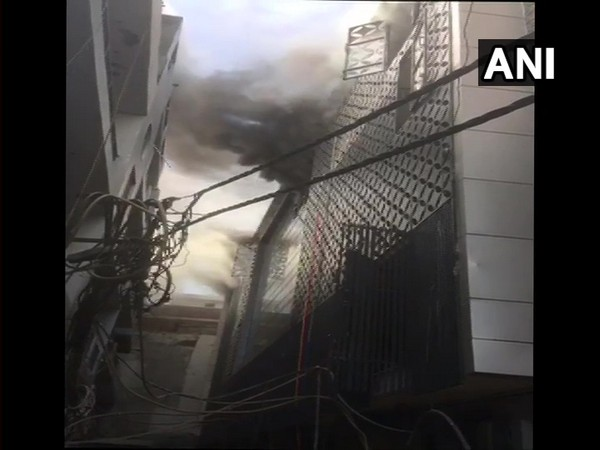 Visual of fire near MTNL office in Damodar Park, Dilshad Garden Industrial Area
