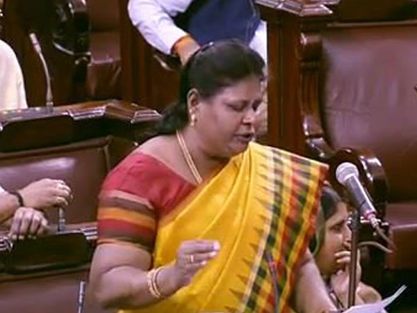 AIADMK MP Vijila Sathyananth speaking in Rajya Sabha on Friday. (Photo credit: RS TV)