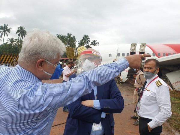 Air India CMD Rajiv Bansal at plane crash site, Kozhikode airport on Saturday. Photo/ANI