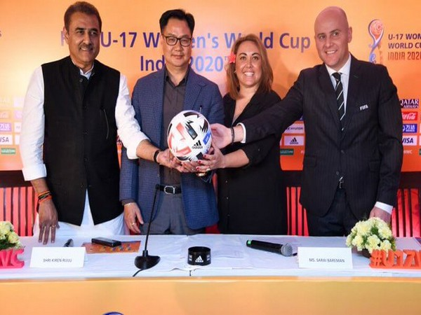 Praful Patel, Kiren Rijiju, Sarai Bareman, and Roberto Grassi (from L-R) (Photo/Indian Football Team Twitter)