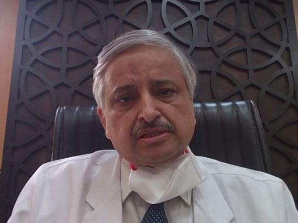 AIIMS Director Dr Randeep Guleria talking to ANI on Wednesday. Photo/ANI