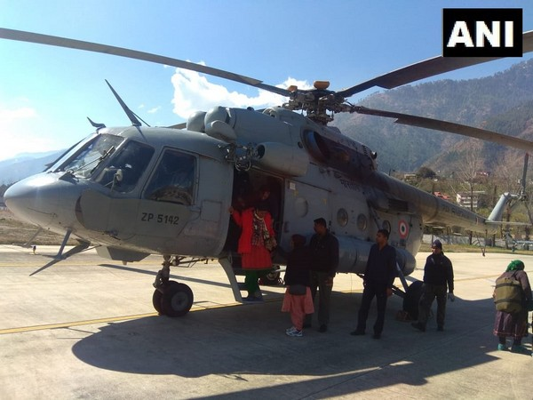 Indian Air Force lifted around 43 people from snow-covered regions of Lahaul-Spiti on Saturday. Photo/ANI