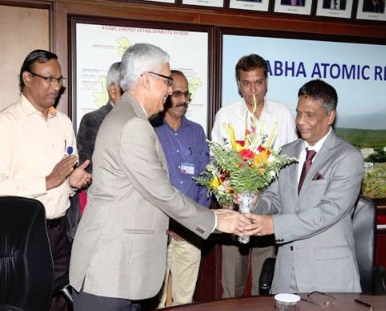 Distinguished Scientist Dr AK Mohanty, right, taking charge from KN Vyas, on Tuesday.