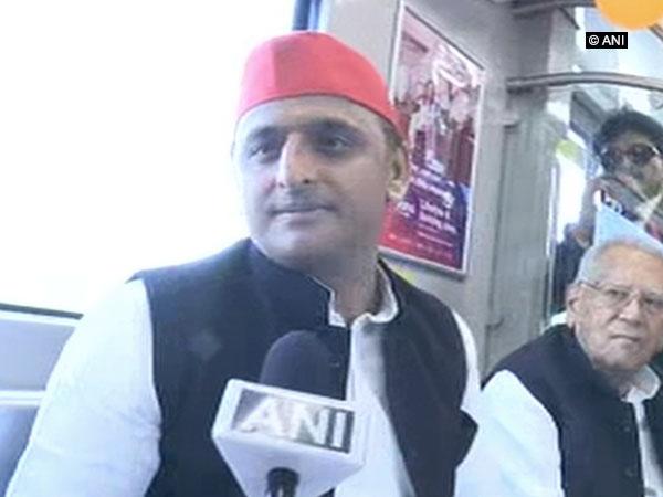 Samajwadi Party chief Akhilesh Yadav speaking to ANI in Lucknow on Sunday Photo/ANI