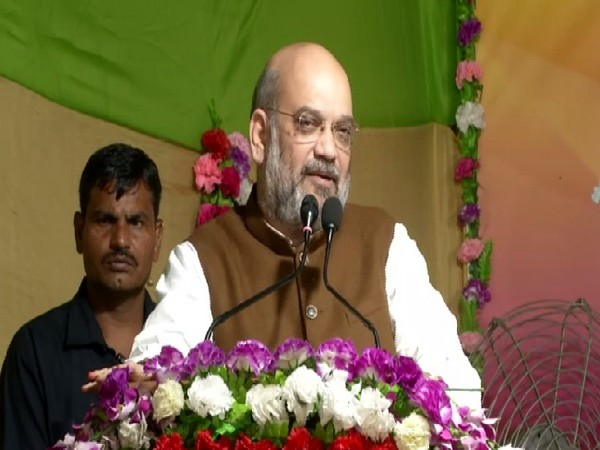 Union Home Minister Amit Shah speaking at a Durga Puja Pandal in Kolkata, West Bengal on Tuesday.