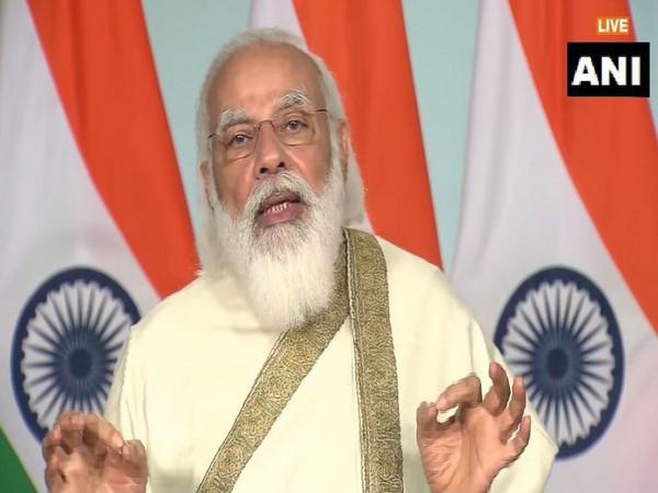 PM Narendra Modi speaking at the centenary celebrations of Aligarh Muslim University on Tuesday. [Photo/ANI]