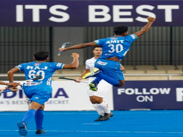 Amit Rohidas celebrating after scoring a goal. (Photo/Hockey India Twitter)
