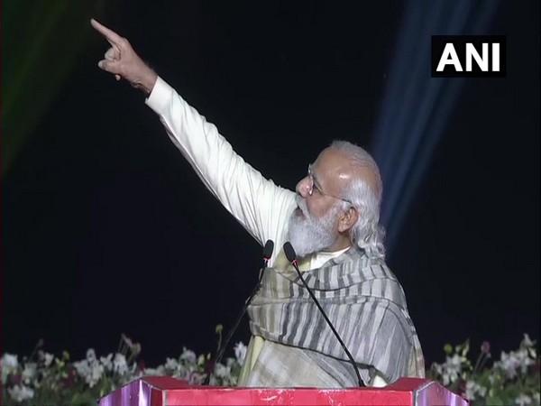 Prime Minister Narendra Modi during his address on Dev Deepawali Mahotsav in Varanasi. (Photo/ANI)