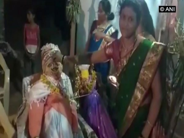 Villagers marrying dolls in Wardha's Shivanfal village. Photo/ANI