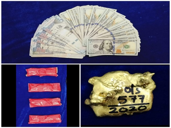Gold and other valuables worth Rs. 18.5 lakhs seized at Chennai International Airport (Photo ANI/Twitter)