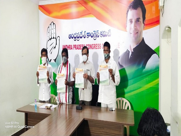 APCC Vice-President G. Gangadhar along with other party leaders during the press conference (Photo/ANI)