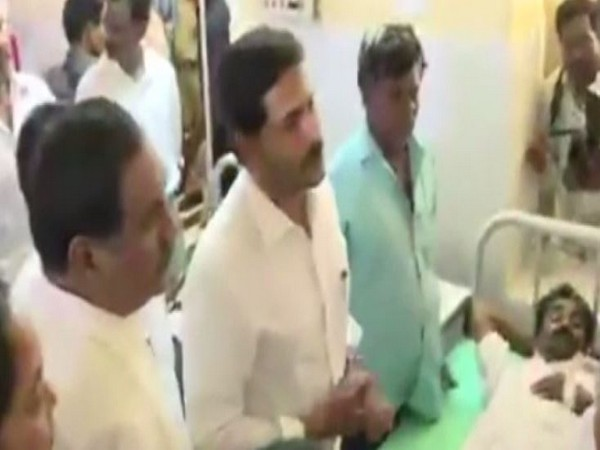 Chief Minister YS Jagan Mohan Reddy meeting a survivor of Godavari boat tragedy at a hospital on Monday. Photo/ANI