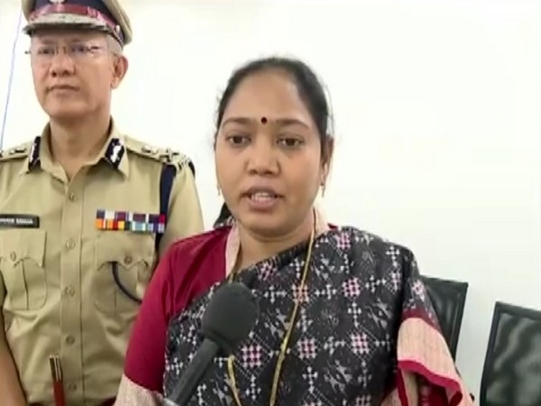 Andhra Pradesh Home Minister Mekathoti Sucharitha talking to reporters in Amaravati, Andhra Pradesh on Friday. Photo/ANI