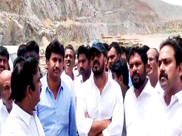 Andhra Pradesh Irrigation Minister P Anil Kumar visited Polavaram project site on Wednesday. Photo/ANI