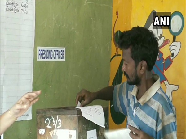 Voting for the first phase of Gram Panchayat polls (Photo/ANI)