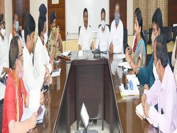 Andhra Pradesh Endowments Minister Velampalli Srinivasa Rao chaired a meeting today (Photo ANI)
