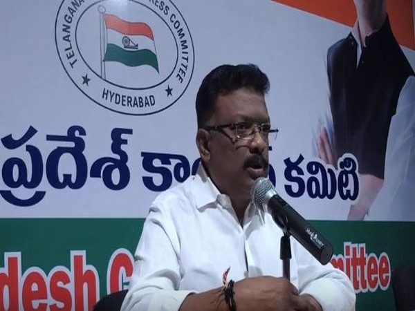 All India Congress Committee (AICC) national spokesperson Dr Dasoju Sravan addressing a press conference in Hyderabad on Friday. (Photo/ANI)