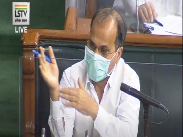 Congress MP Adhir Ranjan Chowdhury speaking in Lok Sabha on Monday.