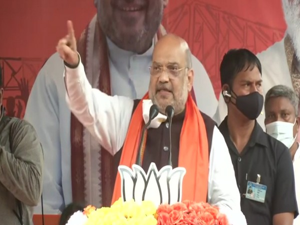 Union Home Minister Amit Shah speaking in Ausgram on Saturday. (Photo/ANI)