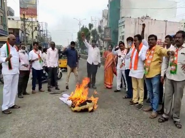 Visual from Andhra BJP's protest in Prakasam. (Photo/ANI)