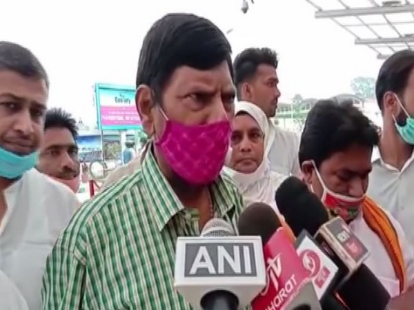 Union Minister of State Ramdas Athawale speaking to reporters on Thursday.