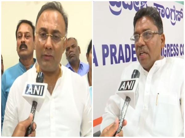 Congress leaders Dinesh Gundu Rao and VS Ugrappa speaking to ANI in Bengaluru on Saturday.