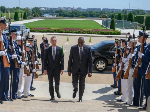 NATO Secretary General Jens Stoltenberg and US Secretary of Defense Lloyd J Austin III at the Pentagon on Monday (ANI)