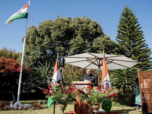 India's ambassador to Madagascar, Abhay Kumar, reading out President of India's message during the Independence Day celebrations in Antananarivo on Thursday