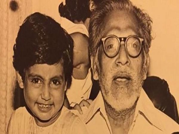 Abhishek Bachchan with Harivansh Rai Bachchan (Image courtesy: Instagram)