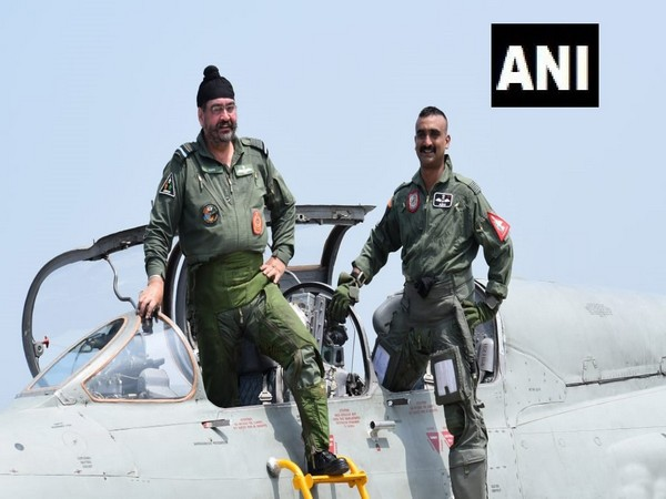 Air Chief Marshal BS Dhanoa and Wing Commander Abhinandan Varthaman at the Pathankot airbase on Monday.