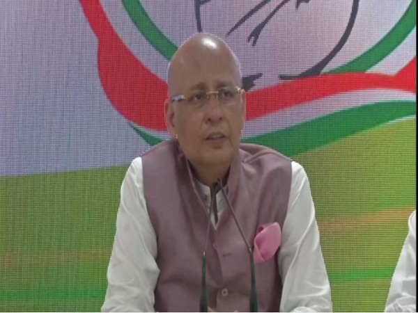 Congress spokesperson Abhishek Manu Singhvi speaking at a press conference in New Delhi on Tuesday. Photo/ANI