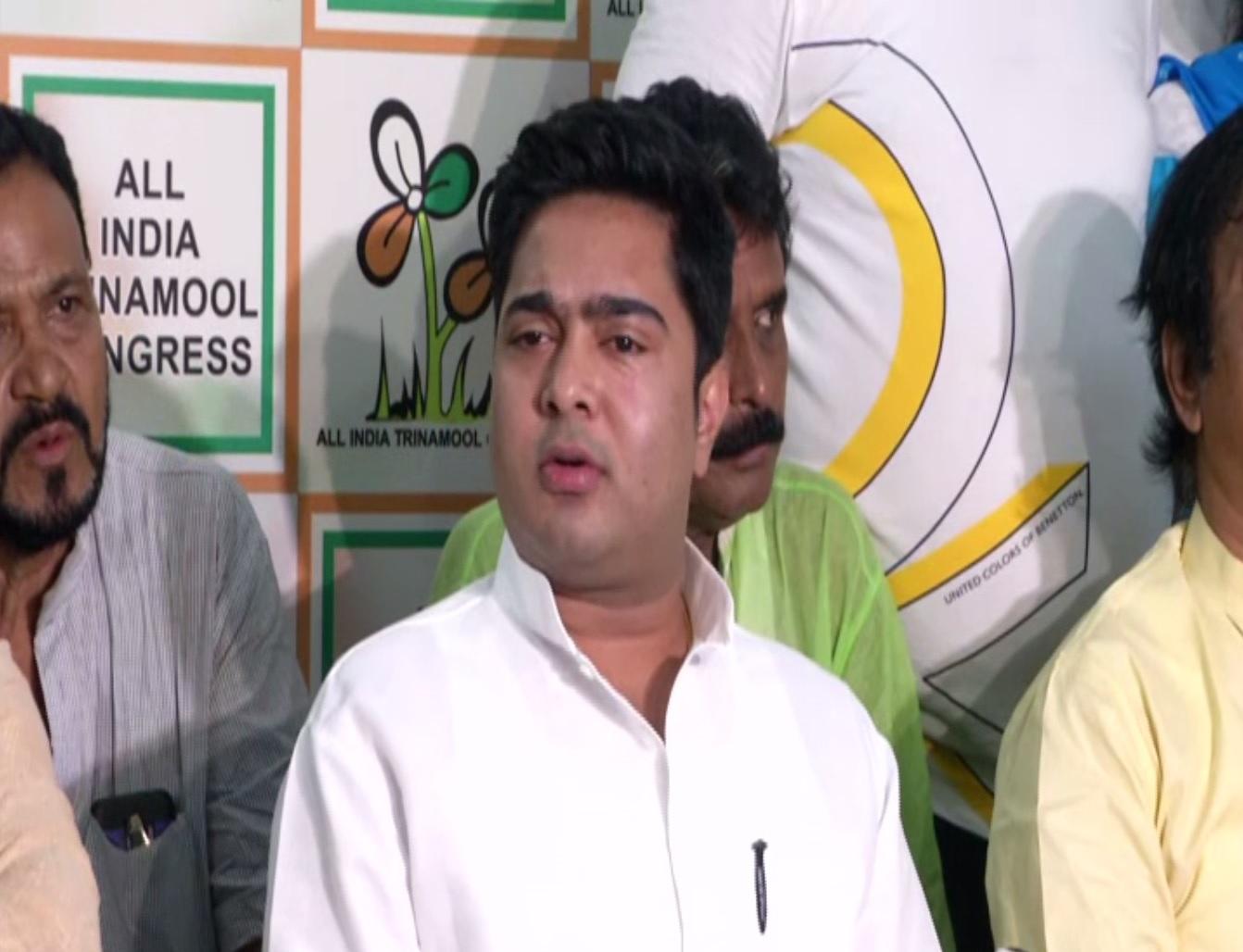 Abhiskeh Banerjee holding a press conference in Kolkata on Saturday. Photo/ANI